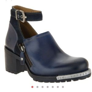 Fly London leather ankle strap booties